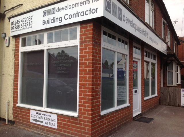 The outside of our new office, converted from dress shop to builder''s premises just like that!