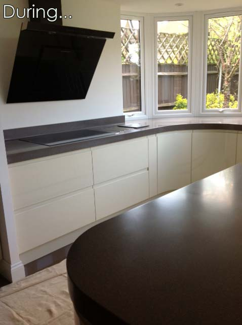 The worktops are installed now and the kitchen is nearly ready to use