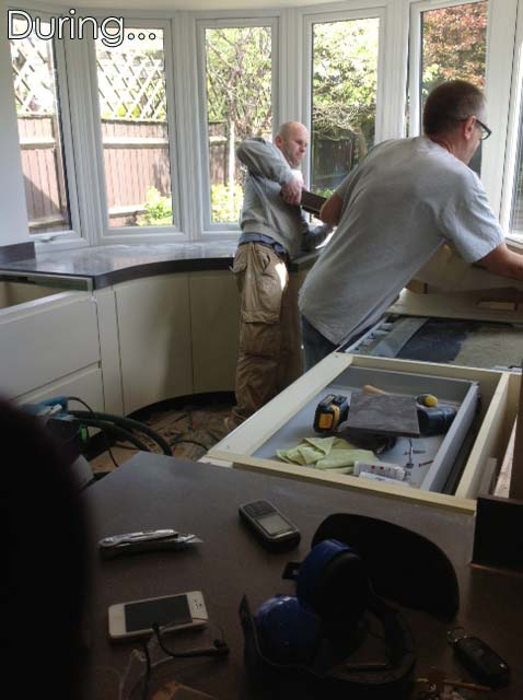 Work goes on with fitting the kitchen in Great Notley