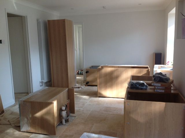 Making a start on laying out the kitchen units, our kitchen fitting team can get to work