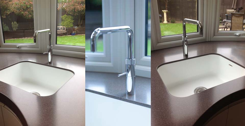 The kitchen sink is moulded into the one-piece seamless worktop, making it easy to keep clean